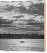 Evening On South River - Bw Wood Print