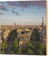 Evening Over Paris Wood Print