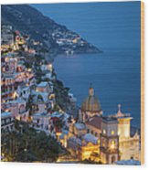 Evening Over Positano Wood Print
