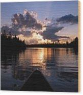 Evening Paddle On Spoon Lake Wood Print