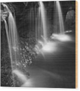 Evening Plunge Waterfall Black And White Wood Print