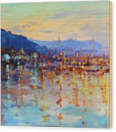Evening Reflections In Piermont Dock Wood Print