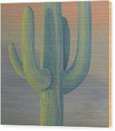 Evening Saguaro Wood Print