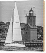 Evening Sail At Holland Light - Bw Wood Print