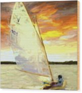 Evening Sail  Wood Print