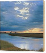 Evening Sky Over Hatches Harbor, Provincetown Wood Print