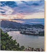 Evening Sky Over Rio De Janeiro Wood Print