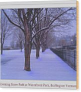 Evening Snow Path At Waterfront Park Burlington Vermont Poster Greeting Card Wood Print