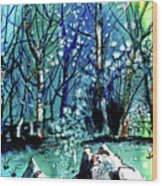 Evening Snowstorm Wood Print