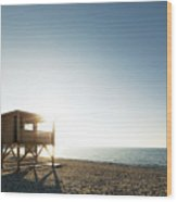 Evening Sun On Lifeguard Tower On Ostriconi Beach In Corsica Wood Print