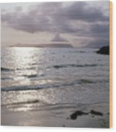 Evening The Isle Of Eigg  Inner Hebrides From The Beach At Arisaig Scotland Wood Print