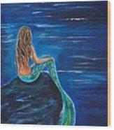 Evening Tide Mermaid Wood Print