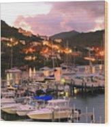 Evening Twilight At Oyster Pond, St. Martin Wood Print