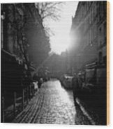 Evening Walk In Paris Bw Wood Print