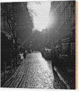 Evening Walk In Paris Bw Squared Wood Print