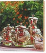 Event - Tea Garden Party Silver Sevice Wood Print