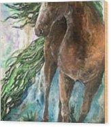 Ever Green  Earth Horse Wood Print