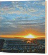 Everett Marina Sunset Wood Print