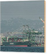 Evergreen Freight Ship And Cargo In Port Of Oakland, California Wood Print