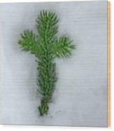 Evergreen Snow Cross Wood Print