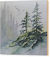 Evergreens In The Mist Wood Print