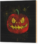 Evil Halloween Pumpkin Wood Print