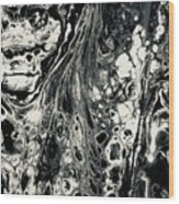 Evil In Black And White Wood Print