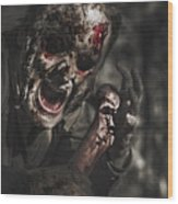 Evil Male Zombie Screaming Out In Bloody Fear Wood Print