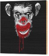 Evil Monkey Clown Wood Print