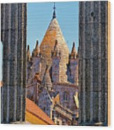 Evora's Cathedral Tower Wood Print