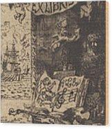Ex-libris De L?on Lerey (ex-libris Of Leon Lerey) Wood Print