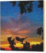 Exagerated Sunset Painting Wood Print