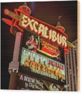 Excalibur Casino Sign Night Wood Print