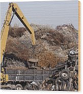 Excavator Moving Scrap Metal With Electro Magnet Wood Print