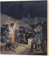 Execution Of The Defenders Of Madrid Wood Print