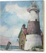 Execution Rocks Lighthouse Wood Print