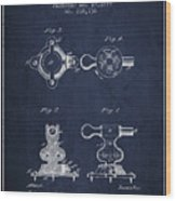 Exercise Machine Patent From 1879 - Navy Blue Wood Print