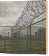 Exercise Yard Through Window In Prison Wood Print