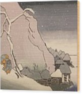 Exiled Buddhist Cleric Nichiren In The Snow Wood Print