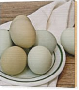 Exotic Colored Chicken Eggs Wood Print