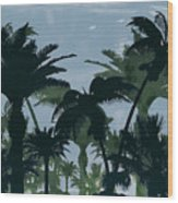 Exotic Palm Trees Silhouettes Water Color Wood Print