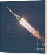 Expedition 46 Soyuz Launch To The Iss Wood Print