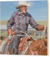 Experienced Cowboy Wood Print