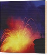 Exploding Lava And Person Wood Print