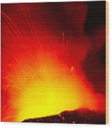 Exploding Lava At Night Wood Print