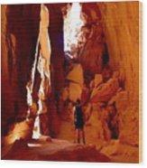 Exploring A Cave Wood Print