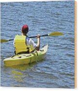 Exploring In A Kayak Wood Print