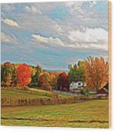 Expressionalism Autumn Farm Wood Print