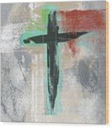 Expressionist Cross 3- Art By Linda Woods Wood Print