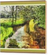 Expressionist Riverside Scene L A With Alt. Decorative Printed Frame. Wood Print